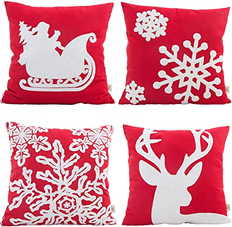 Hosl Sd34 Embroidery Embroidered Merry Christmas Series Blend Linen Throw Pillow Case Decorative Cushion Cover Pillowcase Square 18 Set Of 4 Home Kitchen