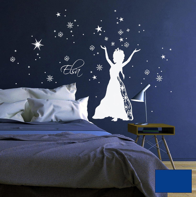 Wandtattoo Wandaufkleber Schneekönigin Prinzessin Frozen Sterne Schneeflocken M1647 - ausgewählte Farbe  Weiß - ausgewählte Größe  L - 80cm breit x 100cm hoch B015ZQFSG4 Wandtattoos & Wandbilder