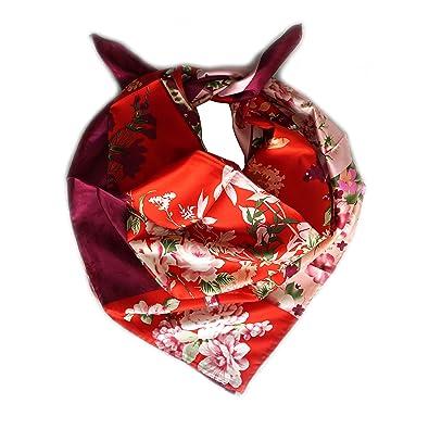 Foulard carré 90cm X 90cm, twill de 100% soie. Couleur rouge ... 9c9217e05fe