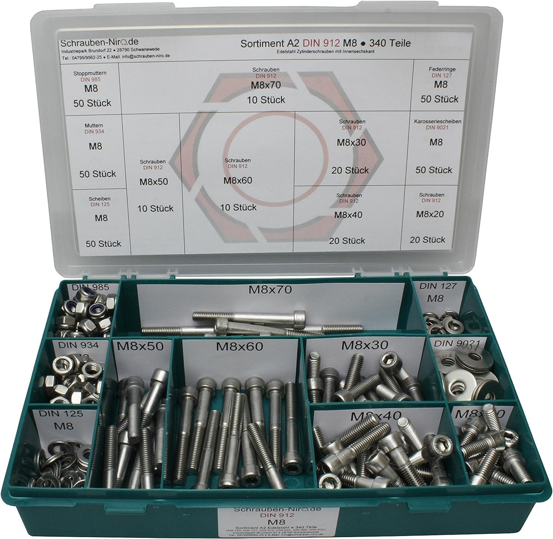 181 Teile Box Edelstahl Innensechskant Schrauben DIN 912 Muttern M6 Sortiment