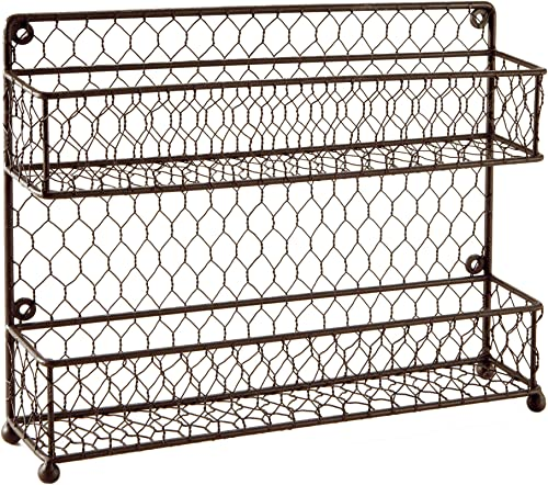 MyGift Rustic Brown Dual Tier Wire Spice Rack Jars Storage Organizer Kitchen Countertop or Wall Mount