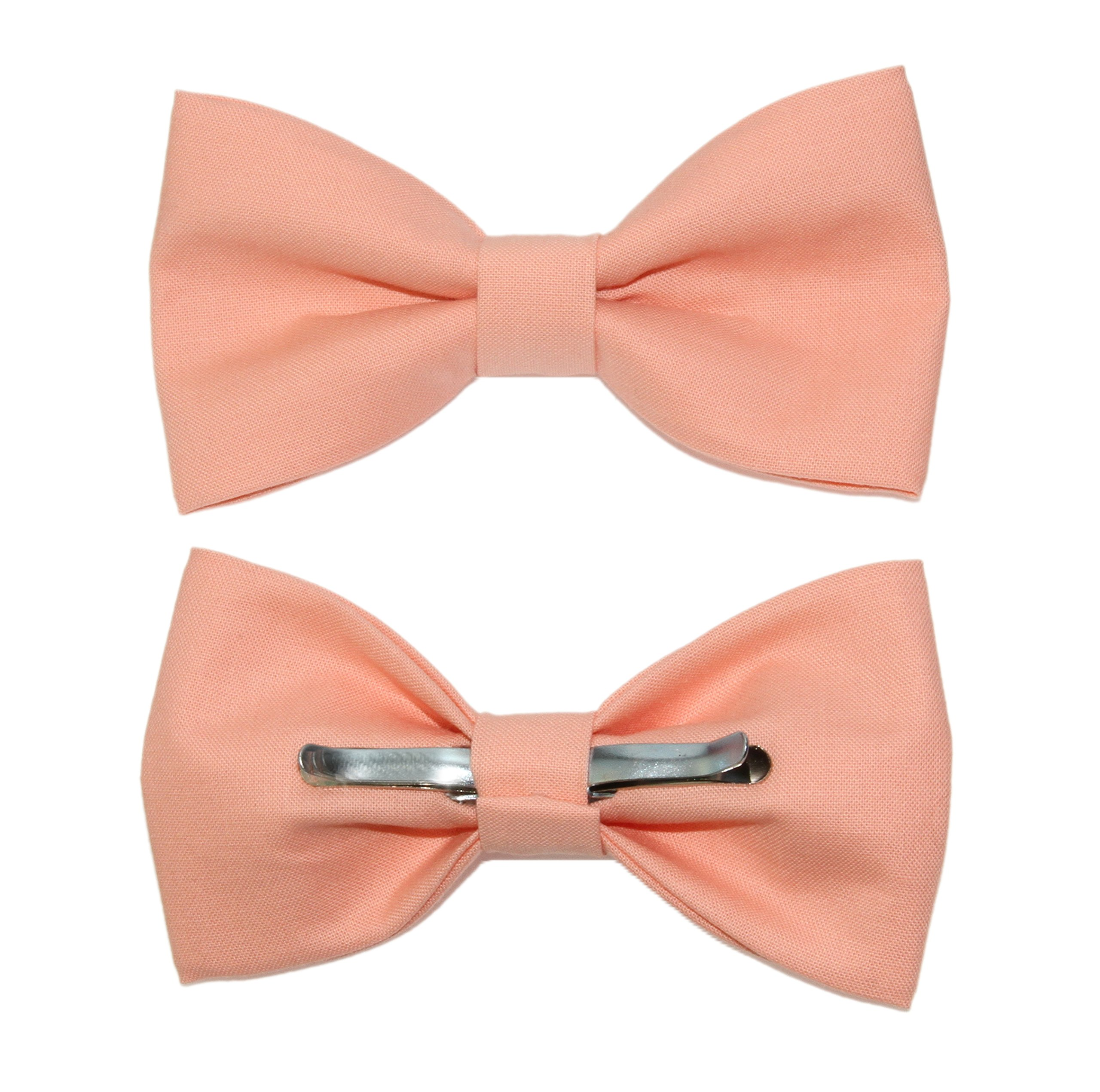 amy2004marie Men's Peach Clip On Cotton Bow Tie - Made In The USA