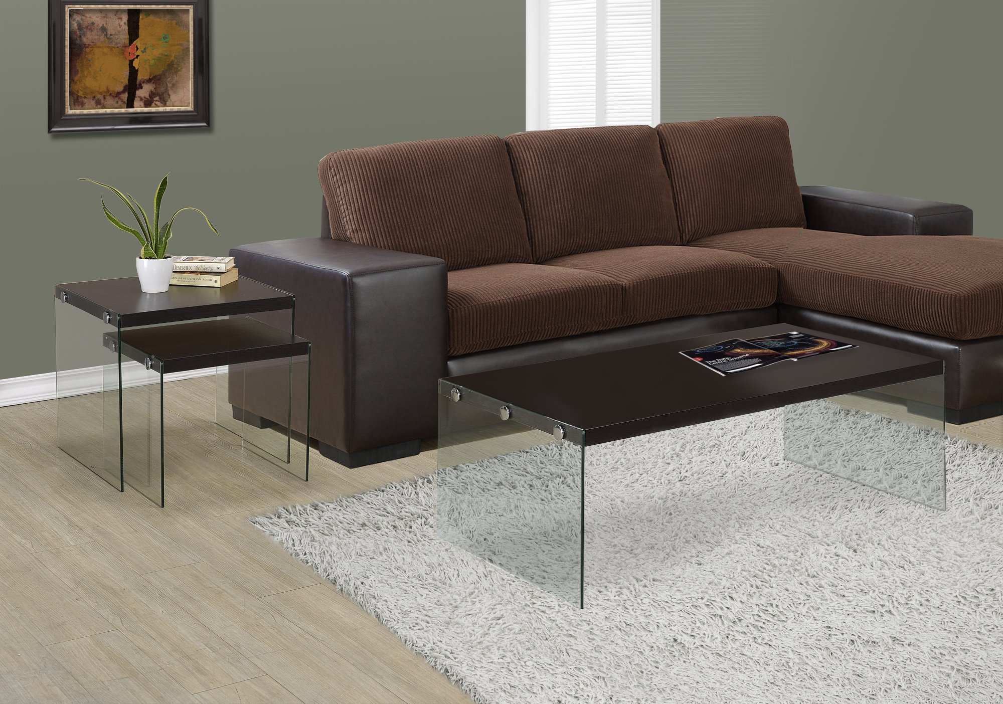 Monarch specialties  I 3280, Coffee Table, Tempered Glass, Cappuccino, 44''L