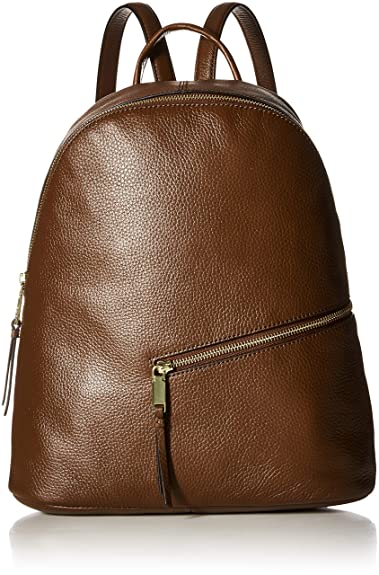 df92dd2bdd Calvin Klein womens Calvin Klein Dali Pebble Leather Diagonal Front Zip  Backpack, walnut, One Size