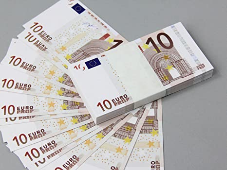 Euro 10 Full Print Double Sided Prop Money Stack For