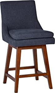 Stone & Beam Alaina Modern Fabric Swivel Kitchen Counter Bar Stool with Back,38.5 Inch Height, Navy Blue