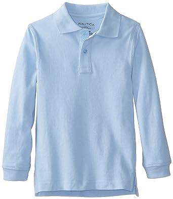 0f9e0ca06 Nautica Big Boys' Uniform Long Sleeve Pique Polo, Light Blue, Small