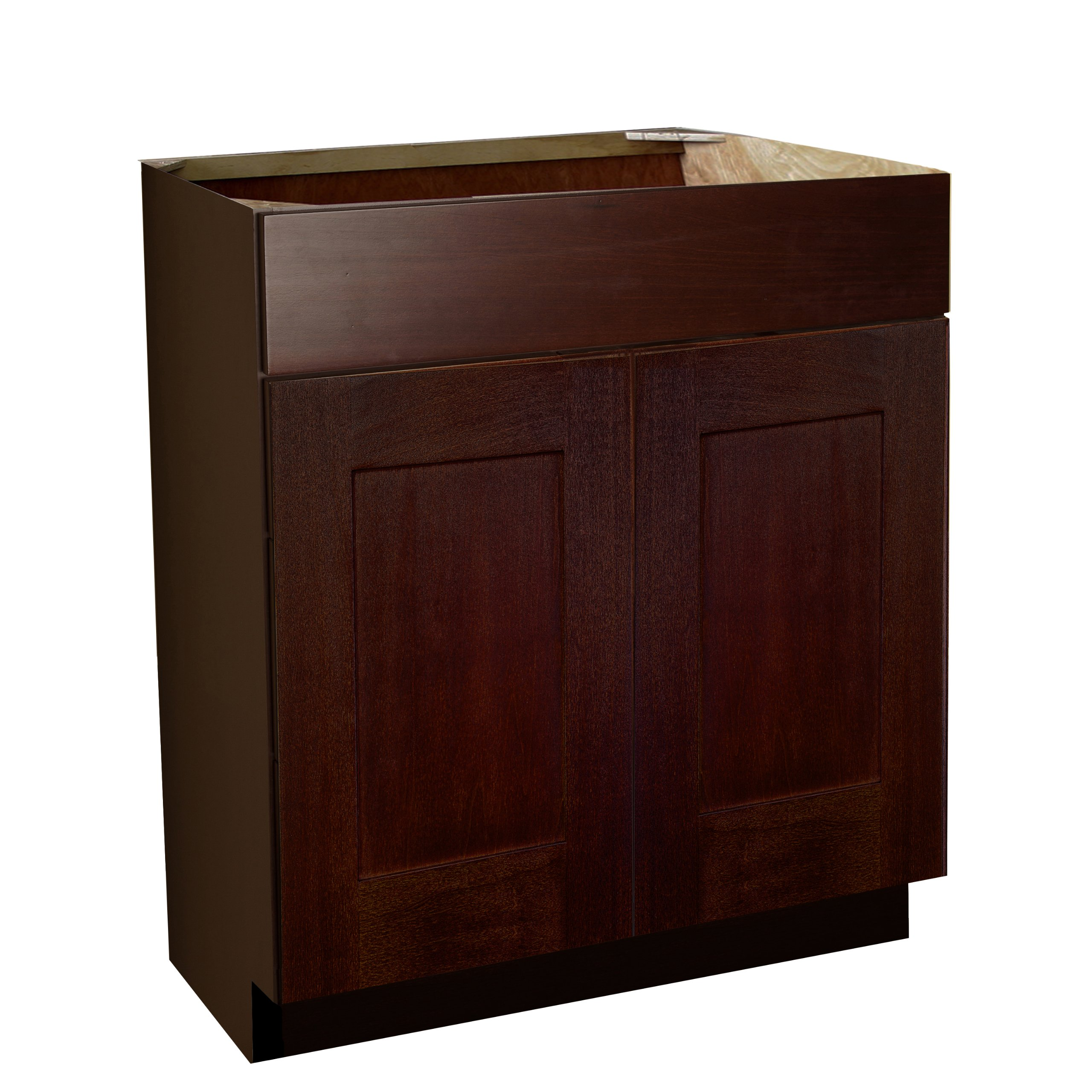 Shaker Panel Door Style Vanity Sink Base 24'' Wide 18'' Deep 30'' High in a Maple Walnut Finish Model VSB241830-SW by Harbor City Millwork