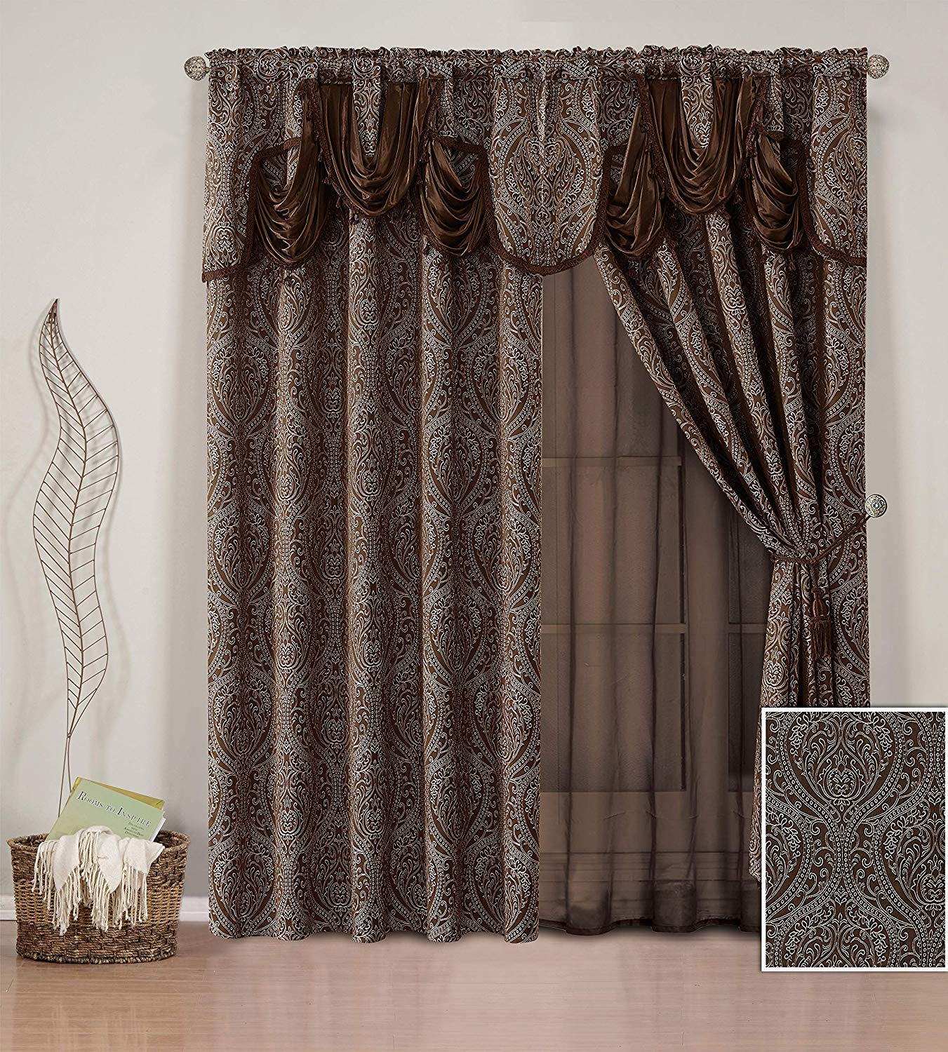 Fancy Linen 2 Panel Rod Pocket Curtain Drapes Embroidery Modern Jacquard Curtain Set with Attached Sheer Backing, Valance and Tassels for Living Room, Dining Room or Bedroom New # Nina (Coffee/Brown) by Fancy Linen LLC