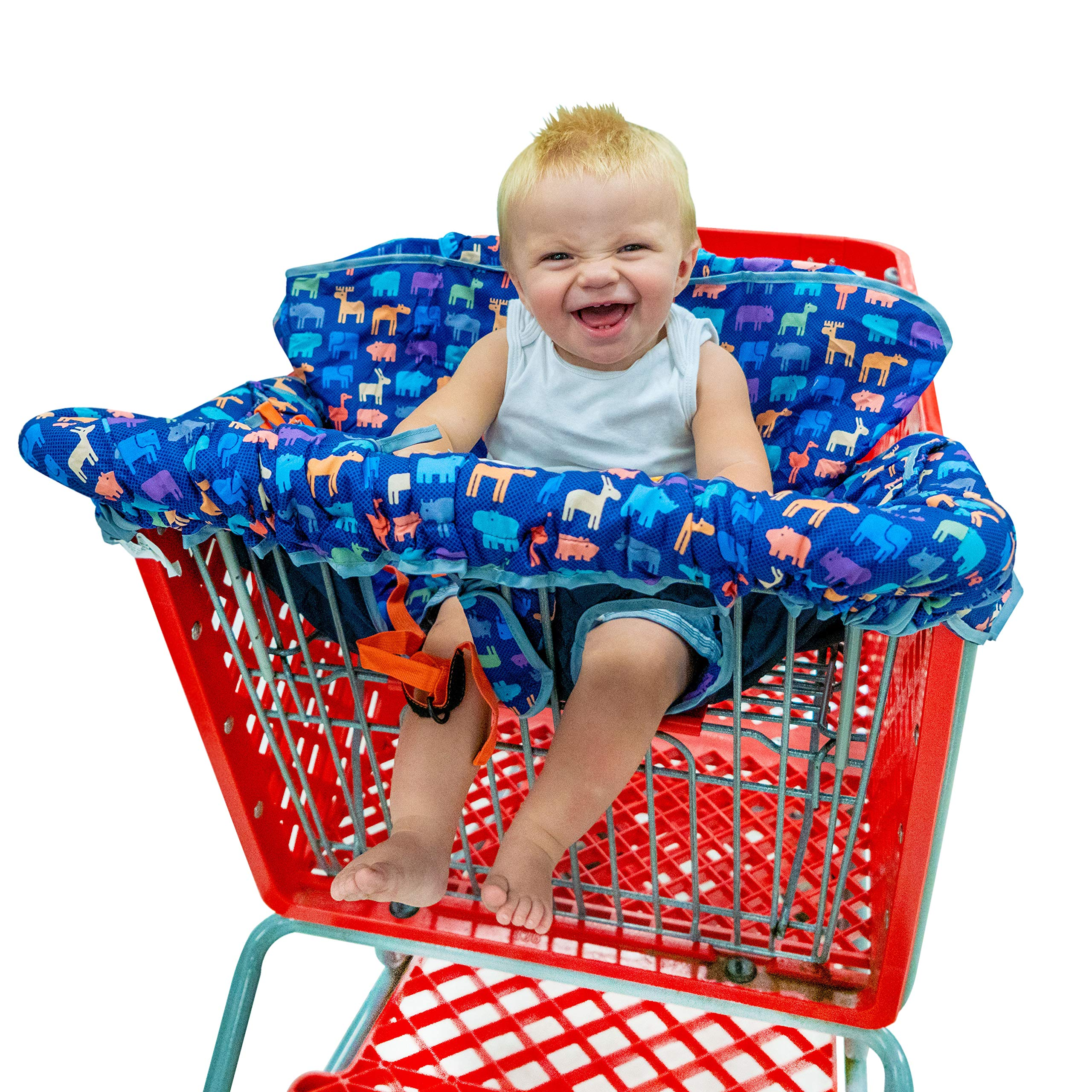 New from Busy Bambino: 2-in-1 shopping cart/high chair cover perfect for you and your baby. Now available in a beautiful animal print. Buy Now! by Busy Bambino (Image #5)