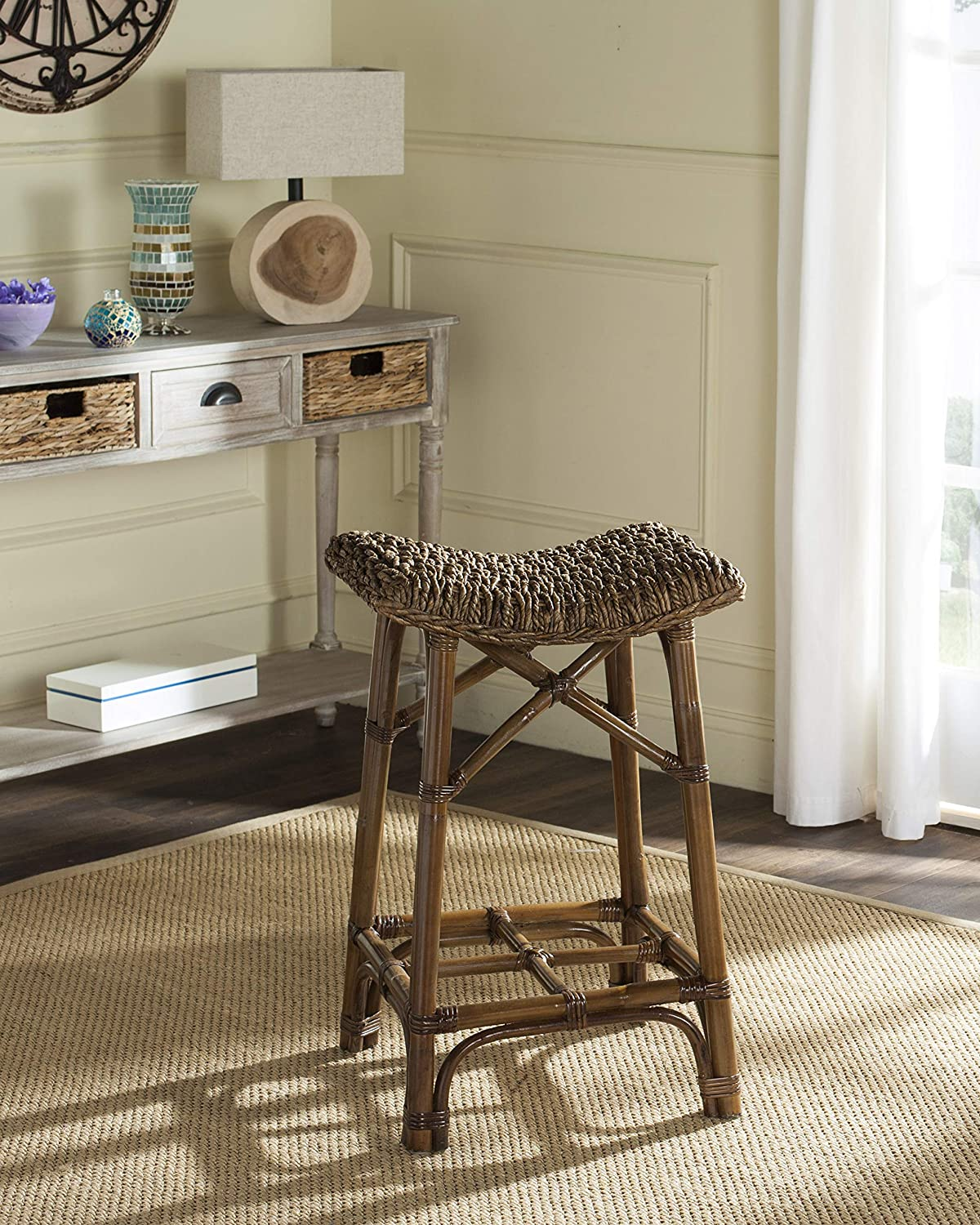 Safavieh Home Collection Ramiro Natural Brown Wicker 27.6-inch Barstool