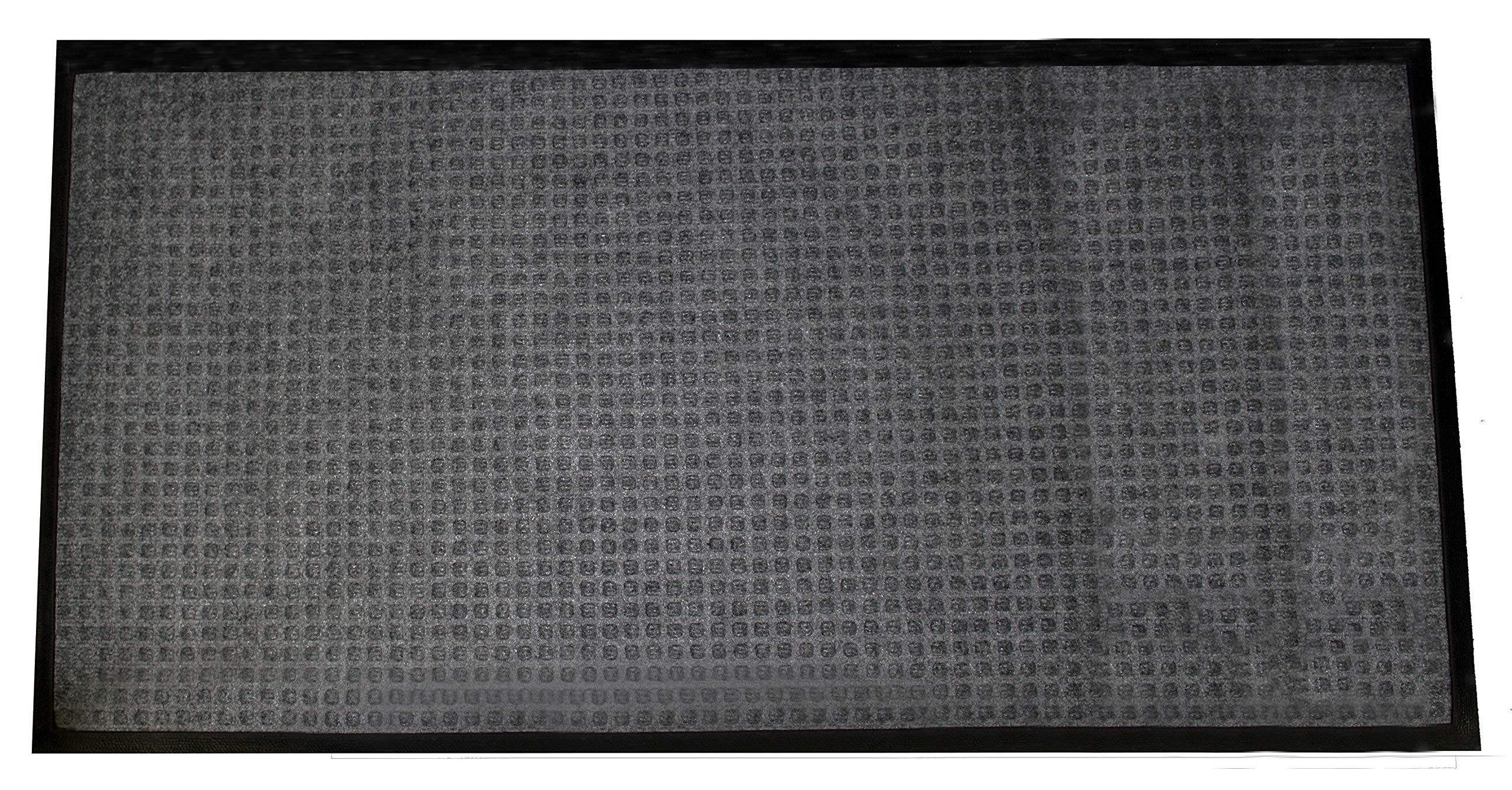 Durable Stop-N-Dry Indoor Rubber Backed Carpet Entrance Mat, 3' x 5', Charcoal