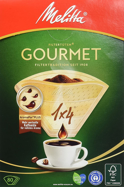 Melitta Gourmet Filtert/üten AromaporenPlus 4 x 80 St/ück 4er Pack Naturbraun