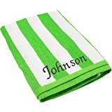 Personalized Striped Beach Towel - Monogrammed Pool Towels Gift - Custom Embroidered for Free (Green)