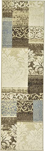 Unique Loom Mosaic Collection Vintage Floral Patchwork Beige Runner Rug 2 0 x 7 0