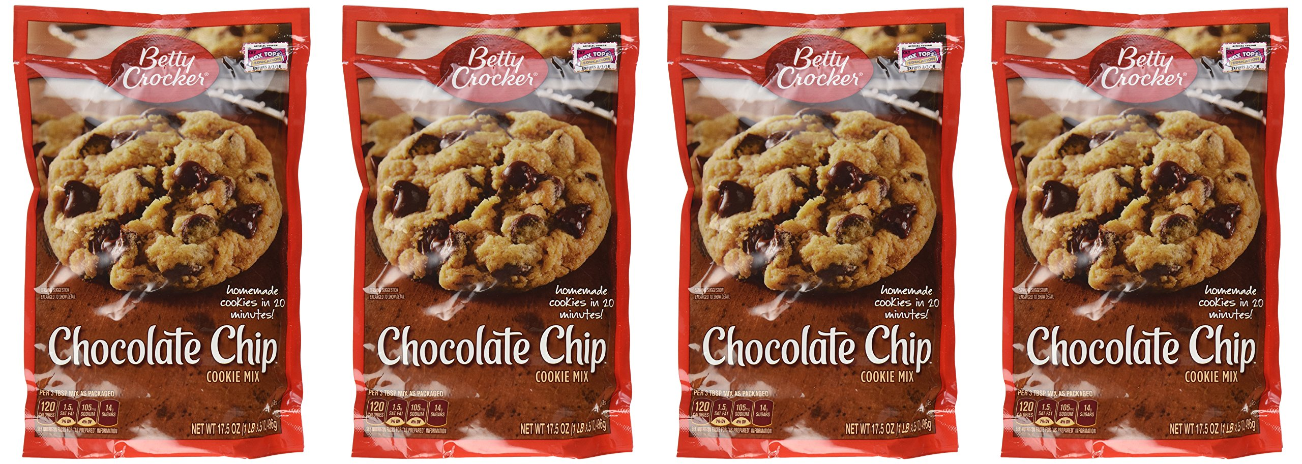 Betty Crocker, Cookie Mix, Chocolate Chip, 17.5oz Pouch (Pack of 4)