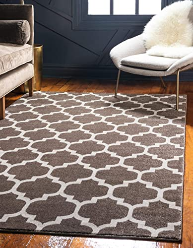 Unique Loom Trellis Collection Moroccan Lattice Light Brown Area Rug 8' 0 x 10' 0