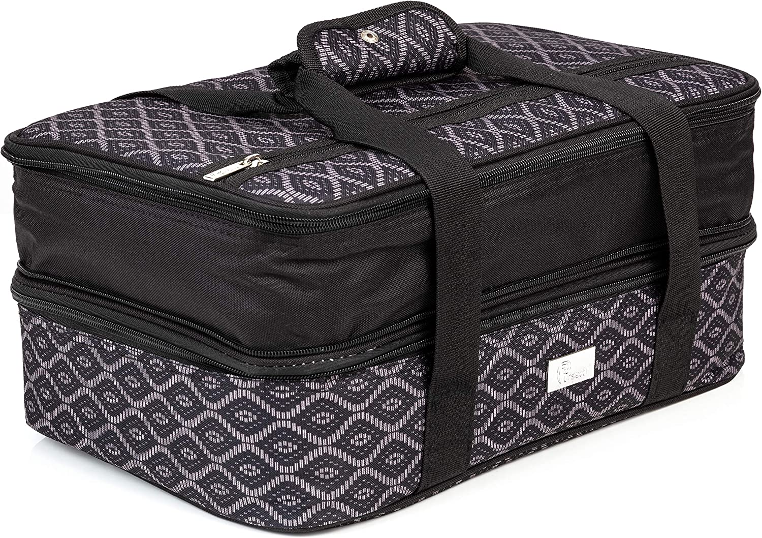 Pursetti Casserole Carrier - Expandable Insulated Bag Perfect as Lasagna & Pie Carrier for Potluck, Family and Holiday Parties (Black Trellis w/Black Accent)