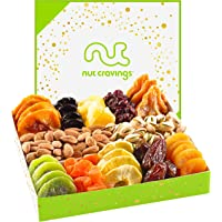 Holiday Nut & Dried Fruit Gift Basket, White Box (12 Mix) - Thanksgiving, Christmas Food Arrangement Platter, Variety…