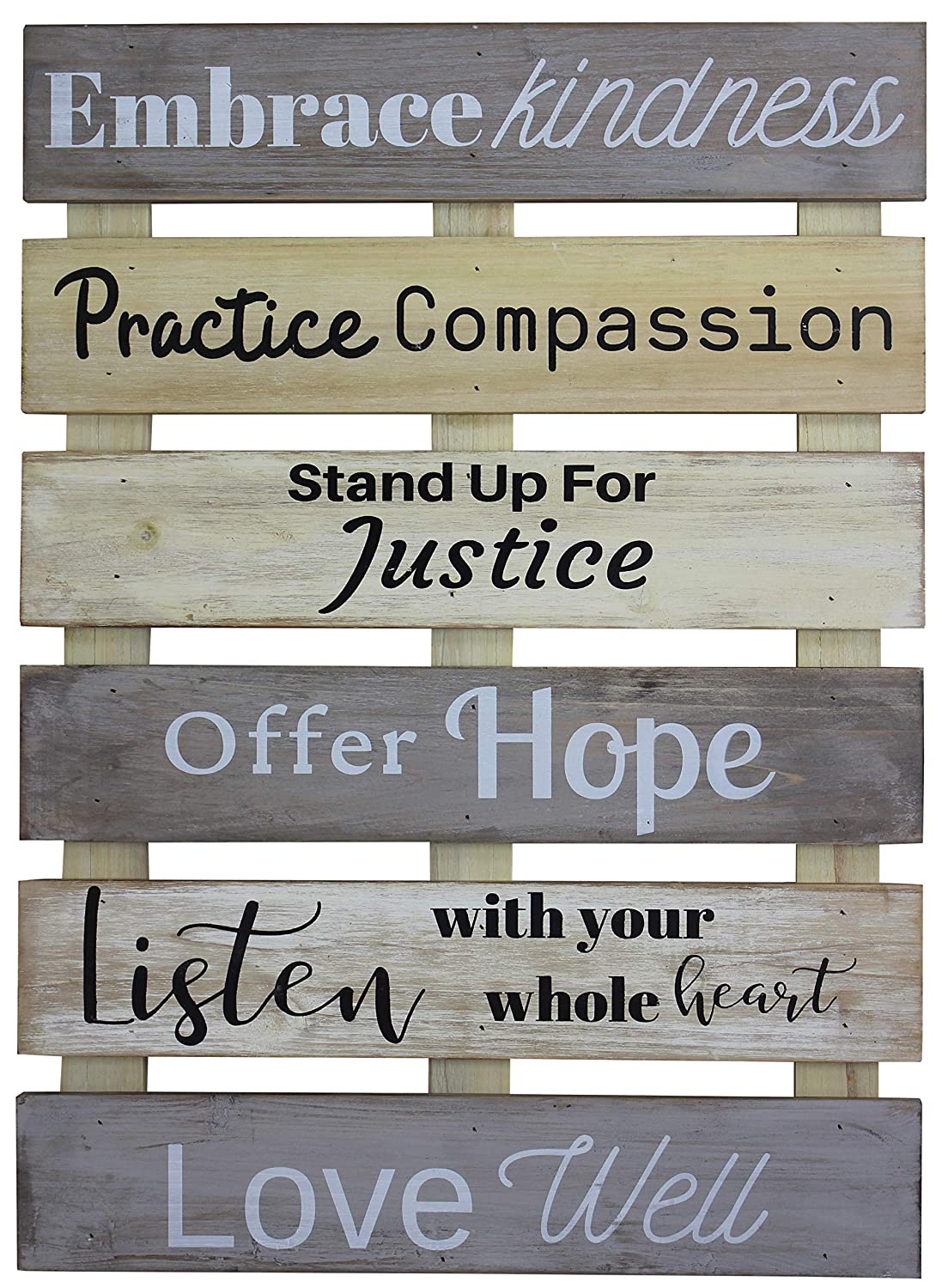 Vintage Rustic Farmhouse Wall Home Decor Inspirational Motivational Sign for Kitchen, Living Room, Dining Room, Bedroom or Bathroom – Embrace Kindness Love Well Barnwood Color Decorative Wall Plaque