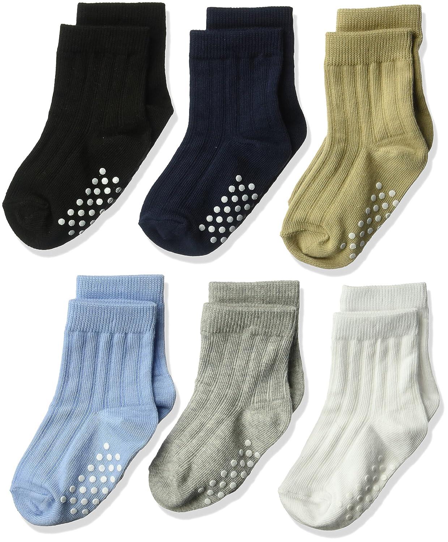 Jefferies Socks Boys' Toddler Non Skid Rib Cotton Crew Socks 6 Pair Pack