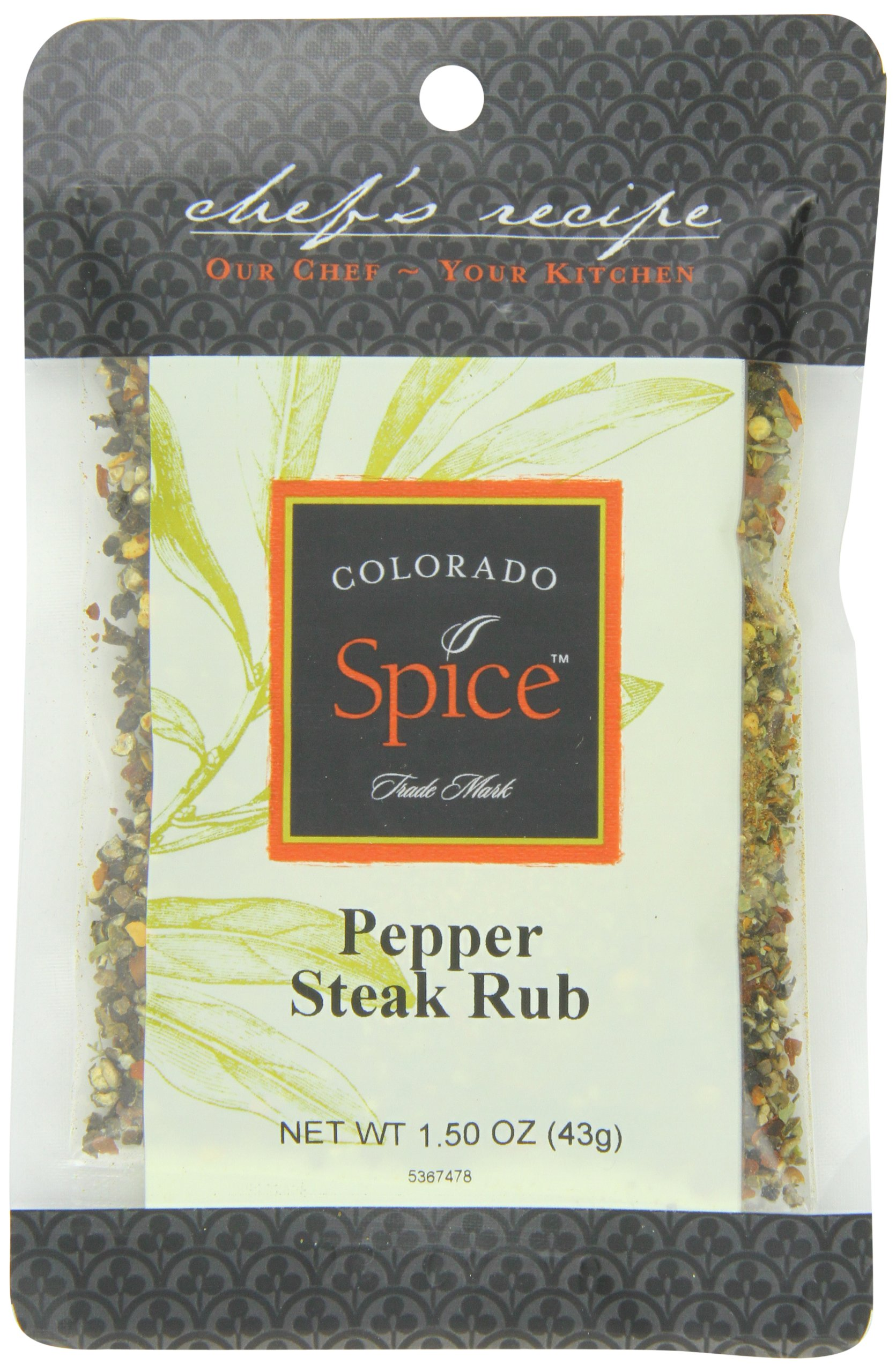 Colorado Spice Company, Beef, Poultry, Pork and Lamb Spice, Pepper Steak Rub 1.5-Ounce Packet (Pack of 12)