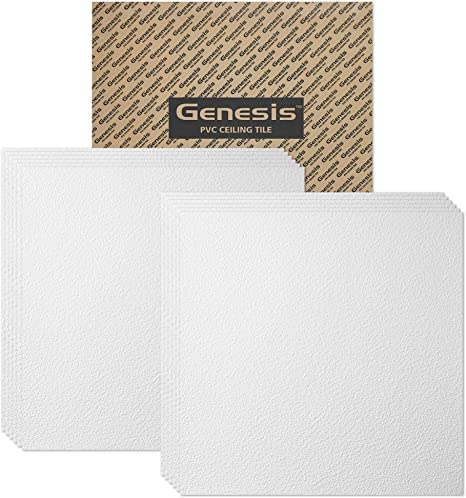 Washable and Fire-Rated Waterproof 6 x 6 Sample Genesis White Stucco Pro Ceiling Tiles High-Grade PVC to Prevent Breakage Easy Drop-in Installation