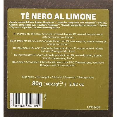 Note D'Espresso - Cápsulas de té negro al limón exclusivamente compatibles con cafeteras Nespresso*, 2g (caja de 40 unidades)