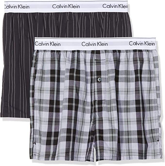 Calvin Klein Boxer Slim 2pk, Rojo (Madison Check M Red/Bridge Stripe B Jhw), X-Large (Pack de 2) para Hombre: Amazon.es: Ropa y accesorios