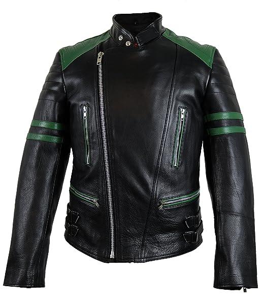 Retro Oldschool Chaqueta de Piel, Negro/Verde, Moto Chaqueta,