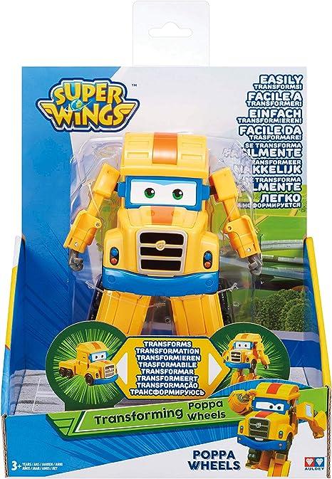 Super Wings Auldey eu720225 Transforming Poppa Wheel Color Amarillo 12 cm Rueda con articulaci/ón