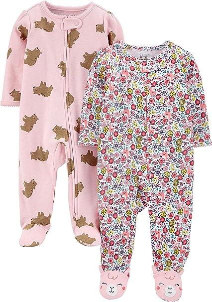 3er-Pack Dinosaur Space Simple Joys by Carters Baby und Kleinkind M/ädchen Schlafanzug mit Fu/ß Rainbow Baumwolle 24 Months