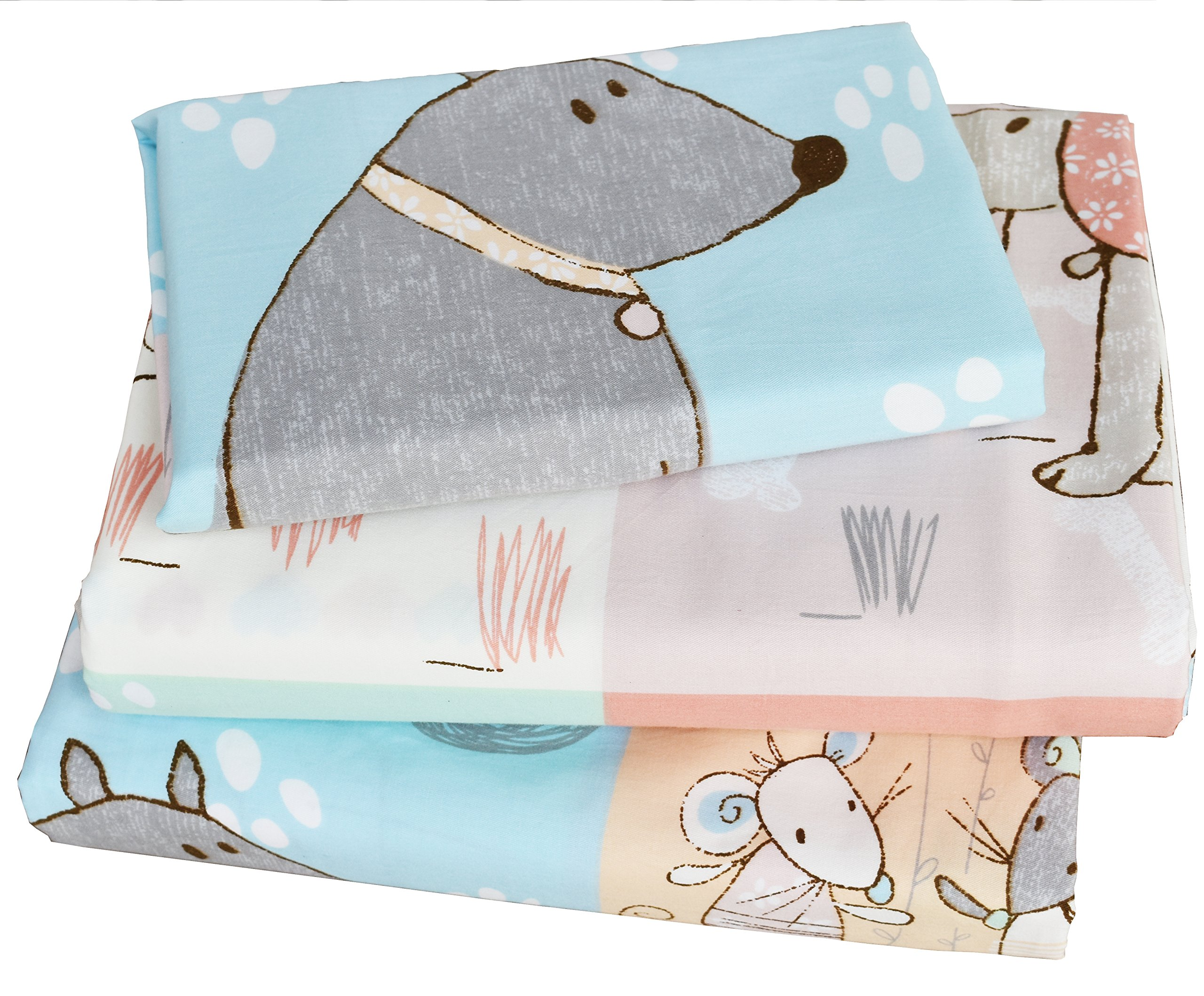 J-pinno Cute Cartoon Puppy Cat Mouse Full Sheet Set for Kids Children,100% Cotton, Flat Sheet + Fitted Sheet + Two Pillowcase Bedding Set (5)