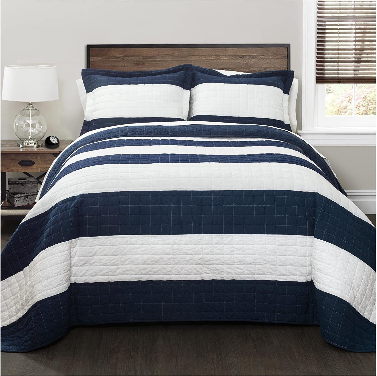Lush Decor New Berlin Quilt Striped Pattern 3 Piece Bedding Set King Navy And White Home Kitchen