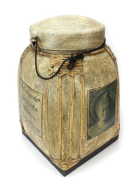 Caja de semillas de arroz tailandés cesta con tapa de bambú lacado – muy grande 62