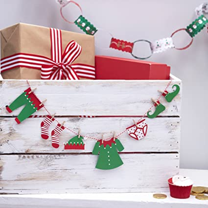 77daf27c6170 Ginger Ray Elf Washing Line Bunting Hanging Christmas Kids Decoration  Bunting - Santa and Friends  Amazon.co.uk  Kitchen   Home
