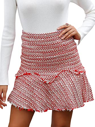 1af4bde45a00 BerryGo Women's Casual High Waist Tweed A-Line Mini Skirt at Amazon ...