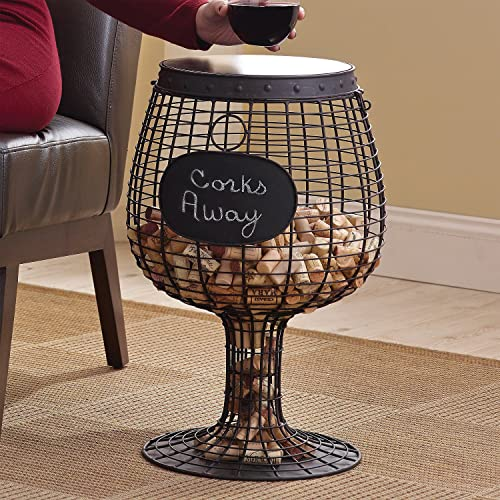 Wine Enthusiast Wine Glass Cork Catcher Accent Table – Holds 400 Corks