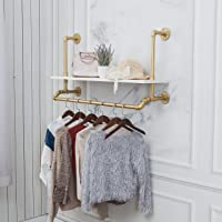 """40"""",Gold,White,Industrial Detachable Wall-Mounted Black Iron Wooden Garment Bar,Heavy Duty Pipe Clothing Rack,Pipe…"""