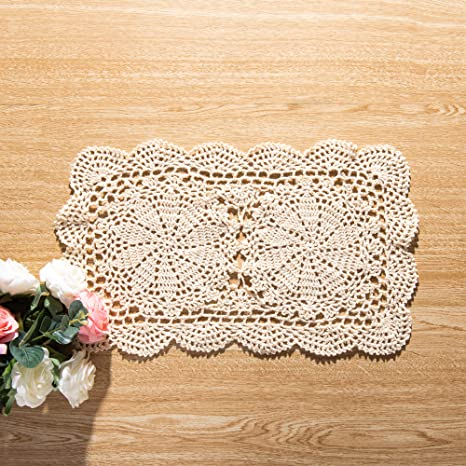 Set of 3 hand crochet small doily beige coaster gift for her kitchen table decoration square cup holder