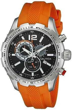 amazon com nautica men s nad15510g nst 30 analog display quartz nautica men s nad15510g nst 30 analog display quartz orange watch