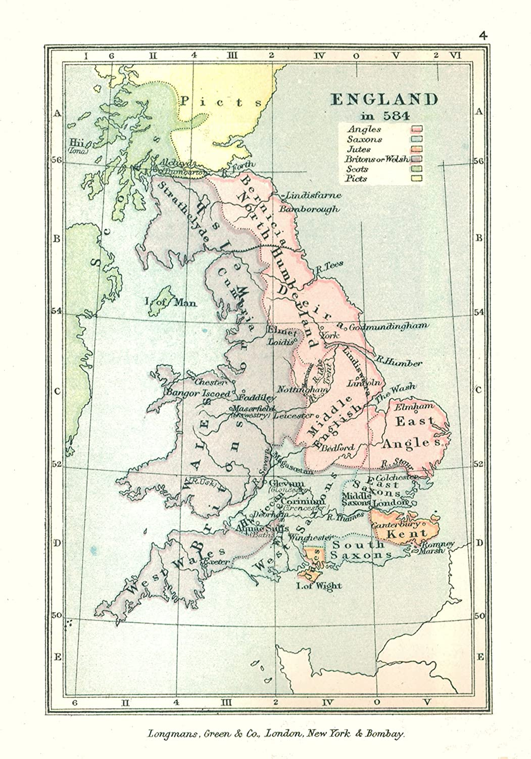 Map Of England In 1500.Amazon Com Old Great Britain Map England In 584 Gardiner 1902