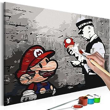 Murando Malen Nach Zahlen Banksy Mario 60x40cm Malset Diy Na 0266 Da