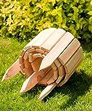 Bordure déroulable de 200 cm de longueur, hauteur de la bordure 20 cm en bois comme délimitation de plates-bandes, pelouse ou comme palissade - avec couleur naturelle, imprégnée et résistante aux intempéries, Couleur:nature