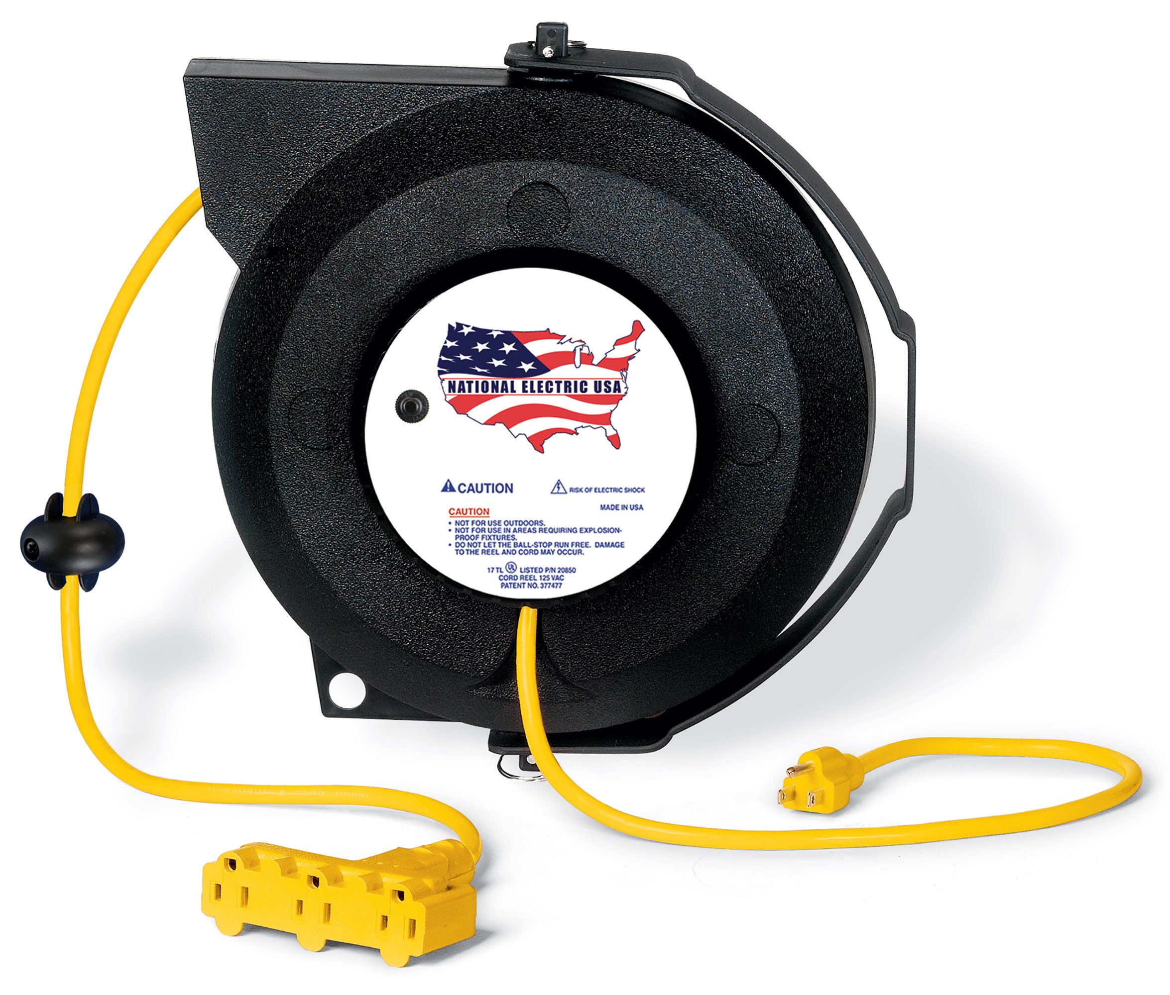 Extension Cord Reel 50 ft - Retractable Heavy Duty Tri-Tap 3-Outlet 16AWG 13A Breaker Reset UL Certified - Yellow