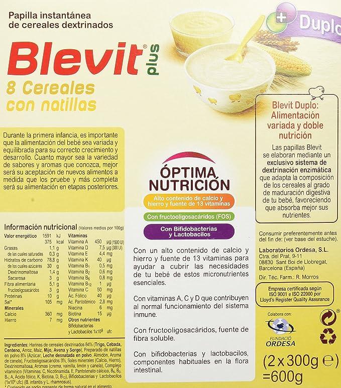 Blevit Plus Duplo 8 Cereales con Natilla - Paquete de 2 x 300 gr - Total: 600 gr: Amazon.es: Alimentación y bebidas