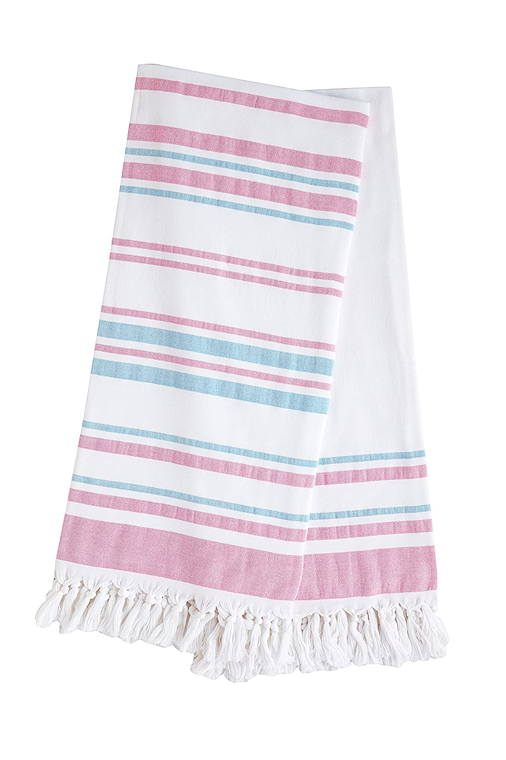 Z&R HOME TURKISH PESTEMAL TOWEL (pink - turquoise)