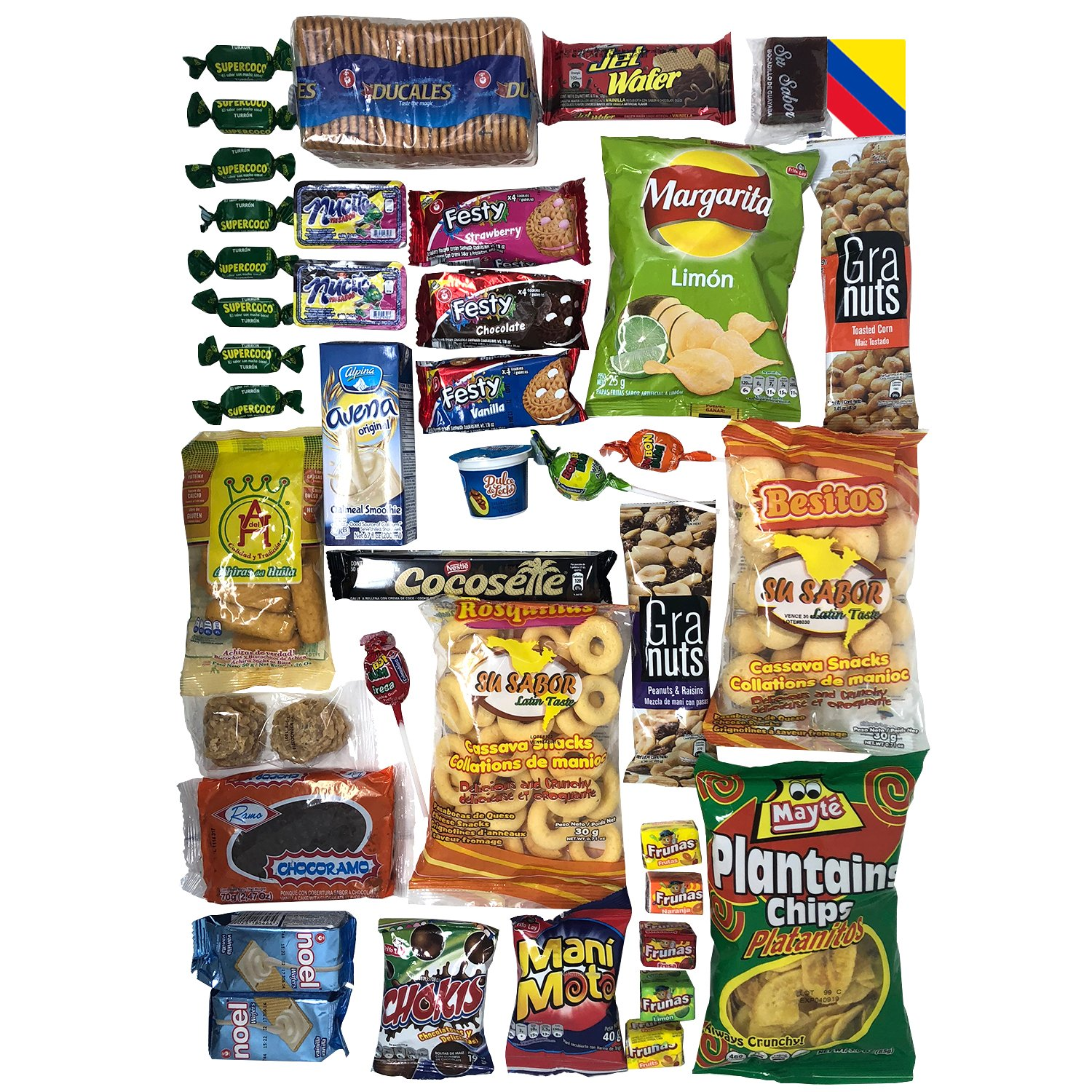 Colombian Snacks Sampler Box - Mecato Colombiano - Cookies, Chips & Candies Variety Pack (40 count / 25 different items plus one 18 count Vanilla Wafer ...