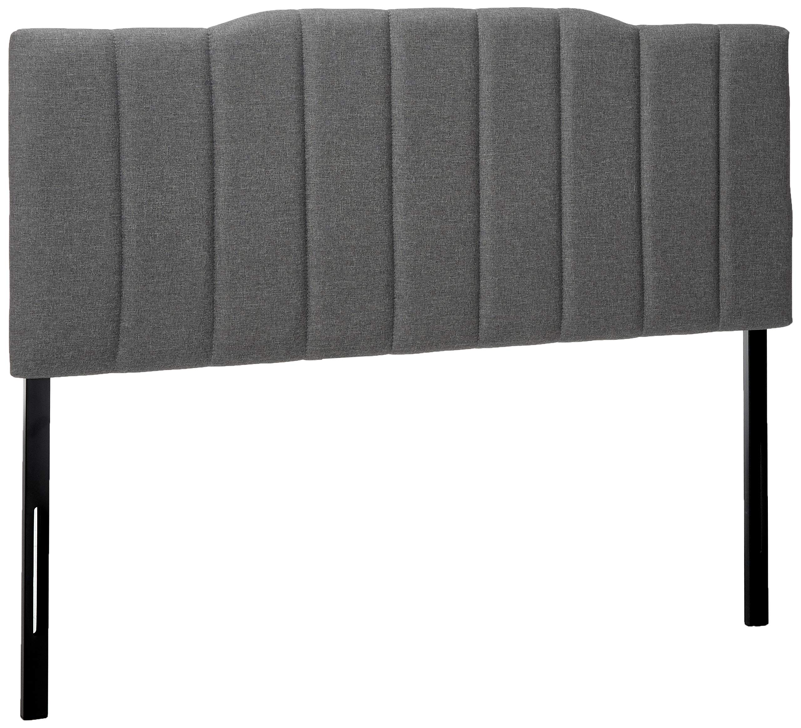 Zinus Satish Upholstered Channel Stitched Headboard in Grey, Full