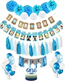 1st Birthday Boy's Decoration kit- Complete One-Year Party Decoration Set- Beautiful Pastel Colors for First Baby Boy's Birthday - 2 Party Banners - Latex Pearl Balloons-Paper Pompom Decorations-